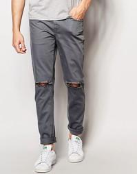 Супероблегающие серые джинсы с рваными коленями ASOS - Серый
