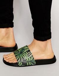 Шлепанцы с пальмовым принтом Slydes - Черный