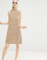 Полосатое платье в рубчик с высокой горловиной Monki - Желтый