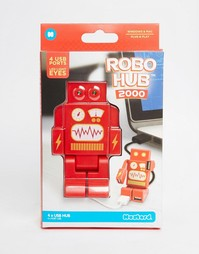 Красный USB-концентратор с 4 портами Robohub - Мульти Gifts