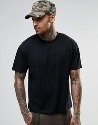 Черная укороченная футболка прямого кроя ASOS - Черный