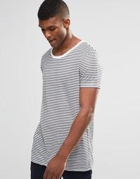 Супердлинная футболка в тонкую черно-белую полоску из ткани под лен AS Asos