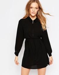 Платье-рубашка на молнии спереди QED London - Черный