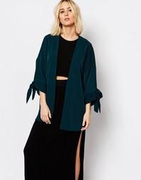 Кимоно с завязками на рукавах Weekday - Темный сине-зеленый