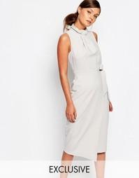 Платье миди с запахом и складками у горловины Closet - Светло-серый