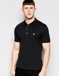 Однотонная футболка-поло из пике Lyle & Scott - Черный