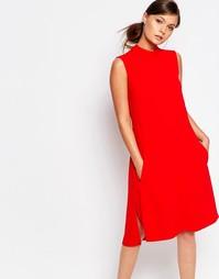 Свободное платье с отворачивающимся воротником Closet - Красный