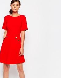 Платье мини с пуговицами на карманах Closet - Красный