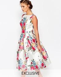 Платье миди с цветочным принтом Chi Chi - Мульти