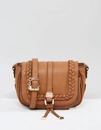 Седловидная сумка через плечо с отделкой косичкой Dune - Рыжий