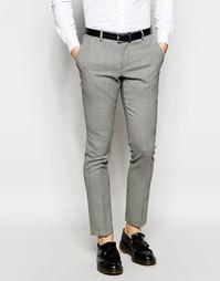 Строгие брюки скинни в ломаную клетку Selected Homme - Черный