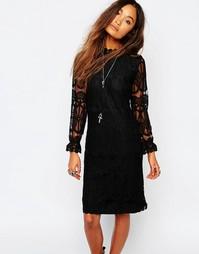 Прозрачное кружевное платье с высоким воротом Navy London - Черный