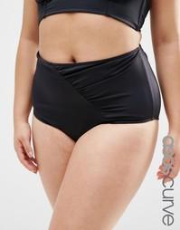 Плавки бикини с завышенной талией ASOS CURVE Mix & Match - Черный