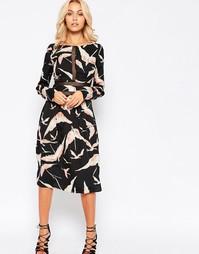 Платье миди с кружевной кокеткой Vero Moda - Черный