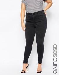 Черные джинсы скинни с завышенной талией ASOS CURVE Ridley