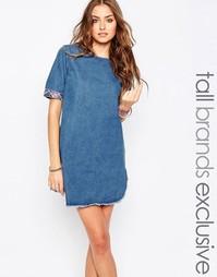 Джинсовое платье с вышивкой Liquor & Poker Tall - Синий