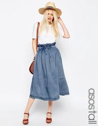 Джинсовая юбка миди со сборкой на поясе ASOS TALL - Синий