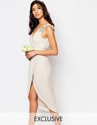 Платье миди с запахом и отделкой TFNC WEDDING - Moonbeam