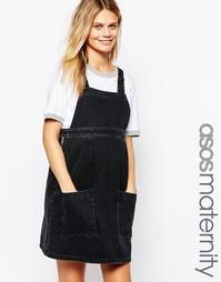 Черный джинсовый сарафан для беременных с выбеленным эффектом ASOS Mat