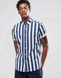 Темно-синяя рубашка в бретонскую полоску с короткими рукавами ASOS