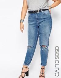 Светлые джинсы слим в винтажном стиле с прорехами ASOS CURVE Farleigh