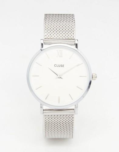 Часы с серебристым сетчатым браслетом Cluse Minuit CL30009
