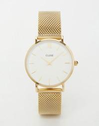 Часы с золотистым сетчатым браслетом Cluse Minuit CL30010 - Золотой