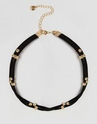 Двойное замшевое ожерелье‑чокер DesignB London - Черный