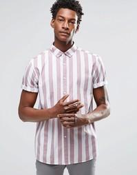 Пыльно-розовая рубашка в бретонскую полоску с короткими рукавами ASOS