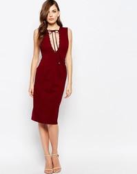 Платье с глубоким вырезом Finders Keepers Superstition - Кирпичный