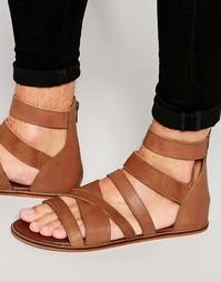Светло-коричневые кожаные гладиаторские сандалии ASOS - Рыжий