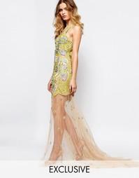 Декорированное платье макси с полупрозрачной юбкой и сетчатой вставкой A Star Is Born