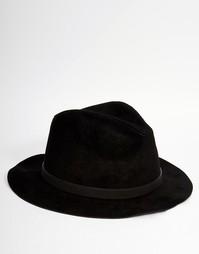 Черная шляпа из искусственной замши ASOS - Черный