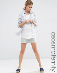 Льняные шорты‑трапеция для беременных ASOS Maternity - Черный