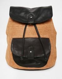 Рюкзак из кожи и замши с тисненым крокодиловым рисунком ASOS - Мульти