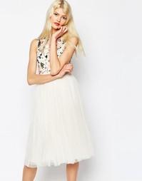 Платье миди из тюля с цветочным принтом Needle & Thread - Мел