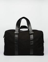 Черная холщовая сумка с кожаной отделкой ASOS - Черный