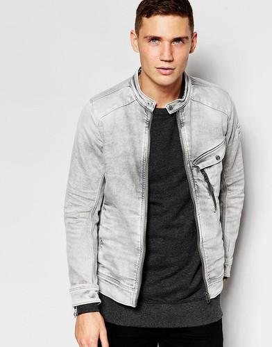 Серая стретчевая джинсовая куртка в байкерском стиле G‑Star Revend 3D