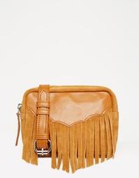 Кожаная сумка-кошелек на пояс в стиле вестерн ASOS - Рыжий