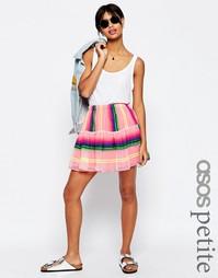 Ярусная мини-юбка в неоновую полоску ASOS PETITE - Мульти