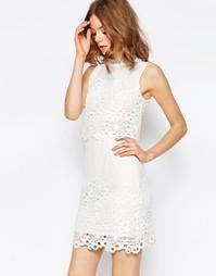 Кружевное платье миди с высокой горловиной и декоративной отделкой ASO Asos