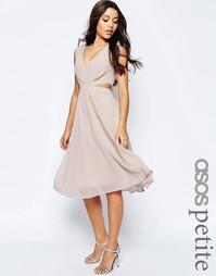 Платье миди с вырезами сбоку ASOS PETITE - Телесный