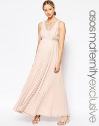 Платье макси с защипами для беременных ASOS Maternity - Nude pink