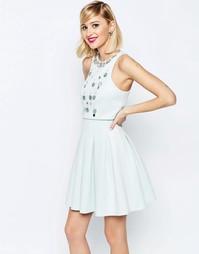 Платье мини с отделкой на укороченном топе ASOS - Мятный