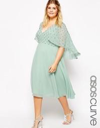 Платье с каскадной драпировкой и отделкой на лифе ASOS CURVE - Мятный