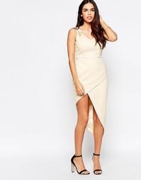 Платье с асимметричным подолом VLabel Lyle - Телесный