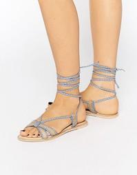 Кожаные сандалии с высокой завязкой ASOS FEELING - Синий в полоску
