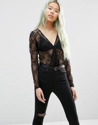Кружевное боди Just Female Audrey - Черный