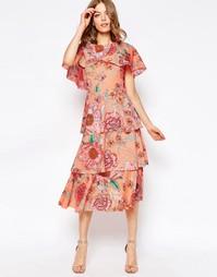 Пастельное платье миди с кейпом и цветочным принтом ASOS - Мульти