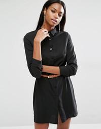Платье-рубашка мини с длинными рукавами и ремнем Missguided - Черный